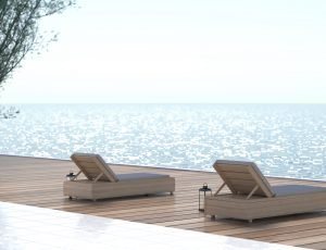 Summer vacation travel holiday, luxury accommodation, Chairs on wooden floors near the sea 3d rendering design background